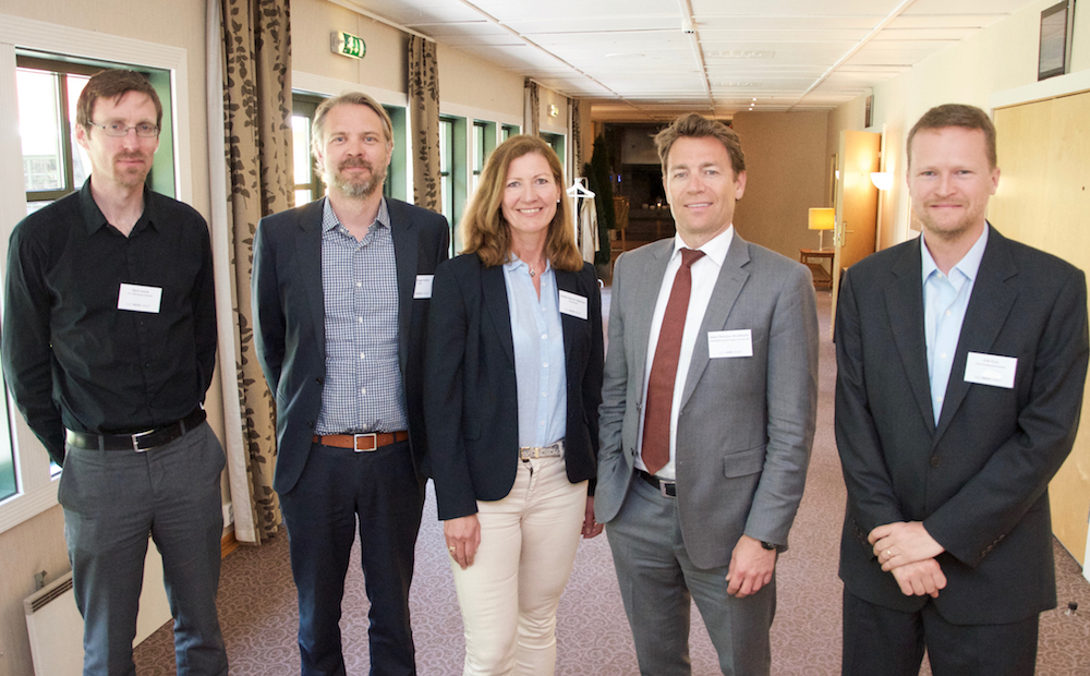 Presenters at GCE NODE's seminar on Iran in May: (Left-right) Kjetil Selvik (Chr. Michelsens Institutt), Mats Ruge Hole (PricewaterhouseCoopers), Anette Stavem Høgmoen (Danske Bank), Hans Christian Brodtkorb (DLA Piper Norway) and Erik Furu (Ministry of Foreign Affairs).