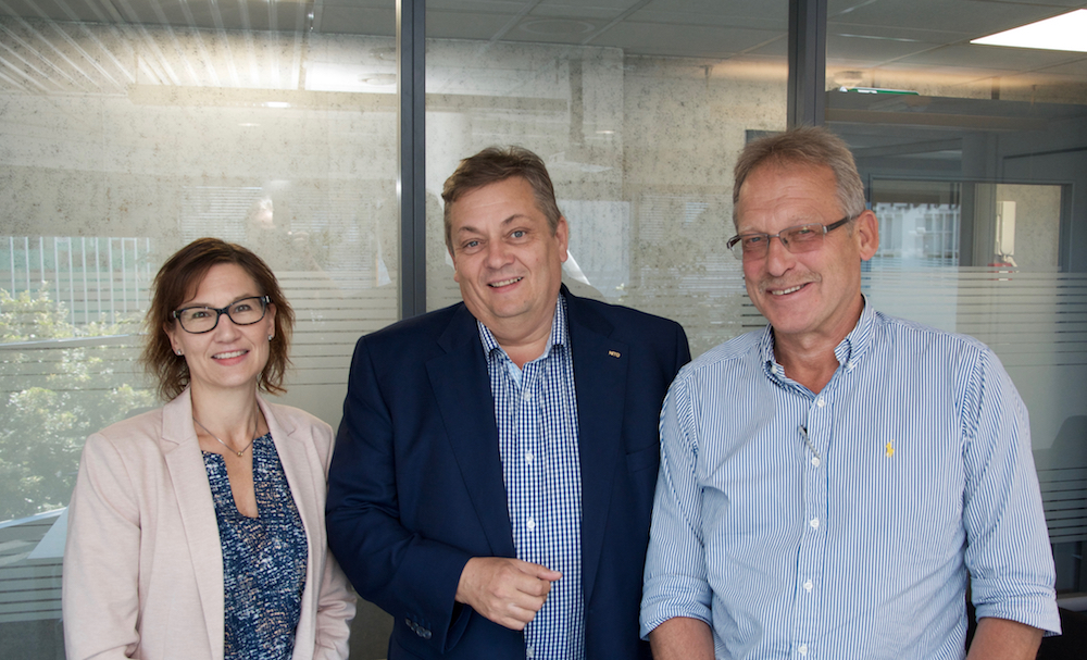 President of NITO Trond Markussen (center) met with RD&I Manager Marit Dolmen and Project Manager Bjørn Saltermark at GCE NODE.