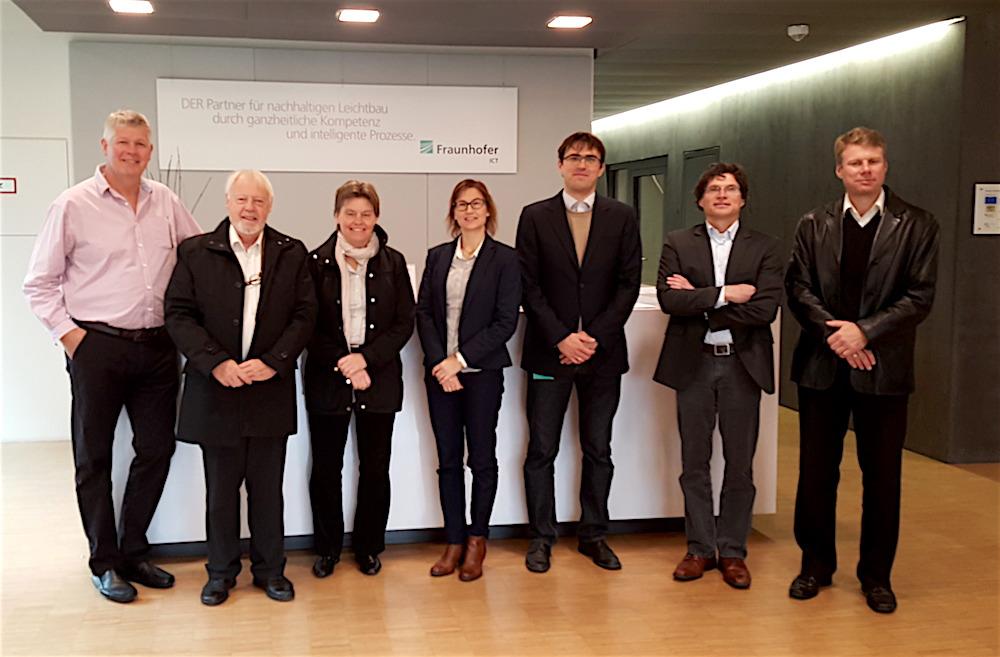 At Fraunhofer ICT. Left-right: Roy Høyer (NOV), Magne Dåstøl (GCE NODE), Turid Storhaug (NOV), Marit Dolmen (GCE NODE), Jakob Wölling (Fraunhofer ICT), Reidar Anderssen (OPS Composite Solutions) and Øyvind Hamre (Umoe Advanced Composites).