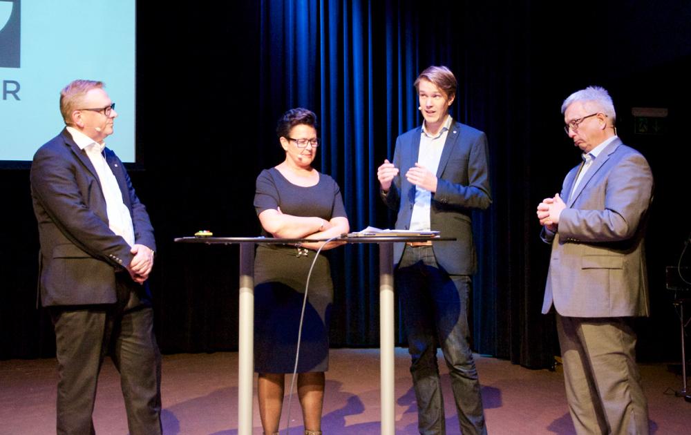 NHO Agder Senior Advisor Trond Madsen, Member of Parliament Ingunn Foss, Member of Parliament Torstein Tvedt Solberg and CEO Karl Eirik Schjøtt-Pedersen at the Norwegian Oil and Gas Association.